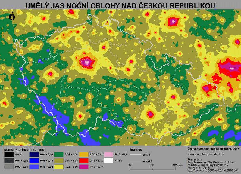 Umělý jas noční oblohy nad Českou republikou