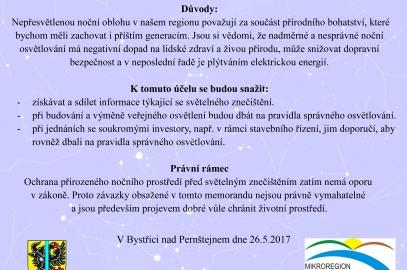 Vyhlášení snahy za zachování tmavé oblohy na Bystřicku